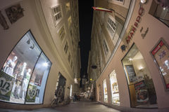 Salzburg street view. City was listed as a UNESCO World Heritage Site. SALZBURG, AUSTRIA - AUGUST  17, 2014: Salzburg street view. City was listed as a UNESCO Royalty Free Stock Photography