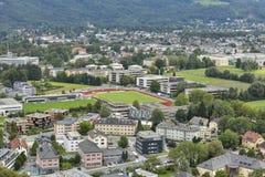 Salzburg suburb cityscape with sports complex Stock Photo
