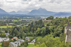 Salzburg suburb cityscape view from fortress Hohensalzburg Stock Photo