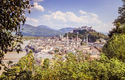 Free Salzburg Summer Time: Panoramic City Landscape With Salzach With Green Grass And Historic District Royalty Free Stock Photography - 163632107