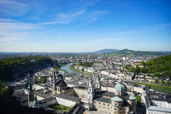 Salzburg town : high view. From Hohensalzburg Castle Stock Image