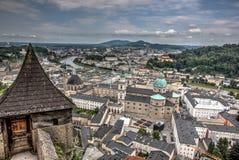 Salzburg van kasteel wordt gezien dat Royalty-vrije Stock Afbeelding