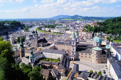 Salzburg view. Aerial view over the old town of Salzburg, Austria Stock Image
