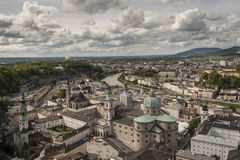 Salzburg viewed from the Festung Hohensalzburg. Salzburg's Old Town (Altstadt) has internationally renowned baroque architecture and one of the best-preserved stock image