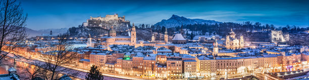 Salzburg winter panorama at blue hour, Salzburger Land, Austria. Panoramic view of the historic city of Salzburg with Hohensalzburg Fortress in winter at blue Royalty Free Stock Images