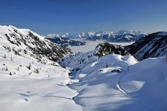 Salzburger Hutte, Hohe Tauern, Tyrol, Österrike royaltyfri foto
