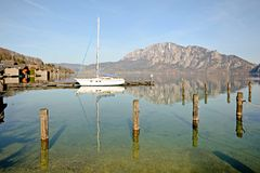 Salzburger Land Austria: View over lake Attersee - Austrian Alps Stock Photography