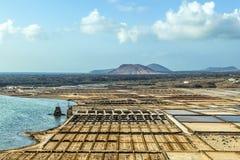 Salzen Sie Bassins in salzigem de Janubio in Lanzarote stockbild