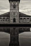 Salzen Sie Lager, den Hafen von Cervia, Schwarzweiss Lizenzfreies Stockfoto