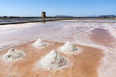 Salzen Sie Sammlung am Salzbergwerk von Trapani in Sizilien Lizenzfreie Stockfotografie