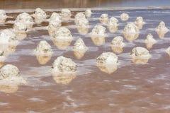 Salzen Sie Sammlung am Salzbergwerk von Trapani in Sizilien Lizenzfreie Stockbilder