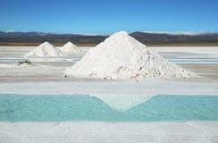 Salzen Sie Stapel und Wasserpool auf Salinen Grandes Lizenzfreie Stockfotografie