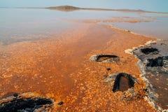 Salzen Sie Teich mit orange Flecken und blauem Himmel des freien Raumes Stockfotografie