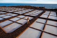 Salzherstellung auf La Palma-Insel Stockfotos