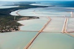 Salzige Vogelperspektive in der Haifischbucht Australien Lizenzfreie Stockfotografie