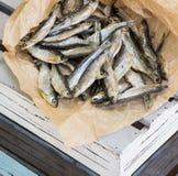 Salziger Trockenfisch auf dem braunen Papier Vorrat-Fische lizenzfreie stockfotografie