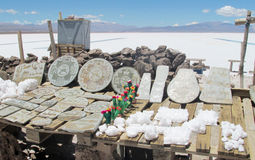 Salzkristallmineralien und -andenken in Salar Lizenzfreie Stockbilder