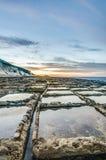 Salzpfannen nahe Qbajjar in Gozo, Malta Lizenzfreies Stockfoto