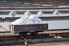 Salzproduktion in Verdunstungsteichen Stockfotos
