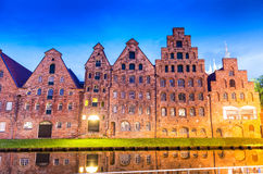 Salzspeicher (salt storehouses) of Lubeck at night, Germany. His Royalty Free Stock Images