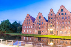 Salzspeicher (salt storehouses) of Lubeck at night, Germany. His Royalty Free Stock Photos