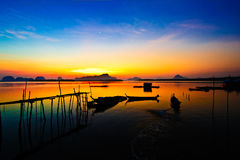 Sam Chong Tai beach in Thailand. The sun rise at Fisherman  s village , Andaman sea Stock Photo