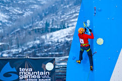 Sam elias winner mixed climbing. VAIL, CO - Feb 10: Sam Elias on route winning the mixed climbing, male, at Teva Mountain Games first winter competition in Vail Stock Photos