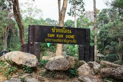 The sign was used to led tourist in the forest. royalty free stock photos