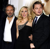Sam Mendes, Kate Winslet and Leonardo DiCaprio Royalty Free Stock Photography