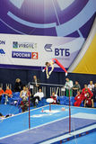 Sam Oldham. MOSCOW - APR 21: 2013 European Artistic Gymnastics Championships.  Sam Oldham - British artistic gymnast, silver medalist acts on the Horizontal Bar Royalty Free Stock Image