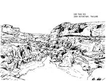 Sam phan bok, hand drawn sketching water color line art . Royalty Free Stock Photos