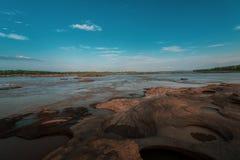`Sam Pun Bok ` Thailand grand canyon sam phan bok at Ubon Ratchathani, Thailand. It caused by erosion, the basin becomes more th. An 3,000 basins royalty free stock photo