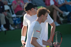 Sam querrey John Isner confer Royalty Free Stock Photos