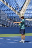 Sam Sumyk, the coach of two times Grand Slam champion Victoria Azarenka during practice for US Open 2014 Royalty Free Stock Image