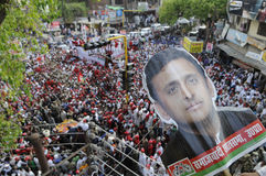 Samajwadi party workers in an election rally Stock Photo