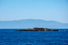 The samall island in the Aegean sea. In city of Bodrum stock photos