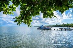 SAMANA, DOMINICAN REPUBLIC - OCTOBER 31, 2015: Yaht docked in Samana, Dominican Republic. The Saman Peninsula is a peninsula in Dominican Republic and a Royalty Free Stock Photo