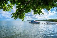 SAMANA DOMINIKANSKA REPUBLIKEN - OKTOBER 31, 2015: Yaht anslöt i Samana, Dominikanska republiken Royaltyfri Fotografi