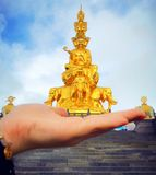 Samantabhadra statue stands in Mount Emei royalty free stock images