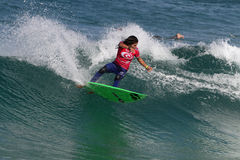 Samantha Cornish. World surfing circuit in Portugal Royalty Free Stock Photos