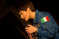Astronaut Samantha Cistoforetti. Samantha Cristoforetti during a conference in Genoa to open a series of meetings on science royalty free stock photo