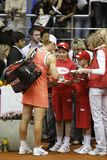 Samantha Stosur. KHARKIV, UKRAINE - APRIL 24: Australian tennis player Samantha Stosur autograph session after defeating Ukrainian Mariya Koryttseva in Fed Cup Stock Photos