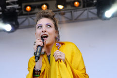 Samantha Urbani, singer of the American band Friends, performs at San Miguel Primavera Sound Festival Stock Image