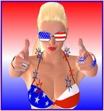4th of July.  Stars and stripes bikini top. 4th of July. Stars and stripes bikini top, sunglasses and earrings have this fun loving blond pointing her fingers Stock Image