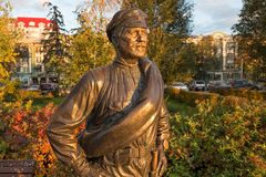 SAMARA, ΡΩΣΙΑ - 12 ΟΚΤΩΒΡΊΟΥ 2016: Γλυπτό του συντρόφου Sukhov Στοκ εικόνες με δικαίωμα ελεύθερης χρήσης
