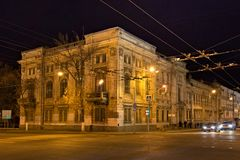 SAMARA, ΡΩΣΙΑ - 12 ΟΚΤΩΒΡΊΟΥ 2016: Παλαιά ιστορικά κτήρια στο κέντρο της Samara προηγούμενο Kuybyshev σε μια νύχτα φθινοπώρου Στοκ Εικόνα