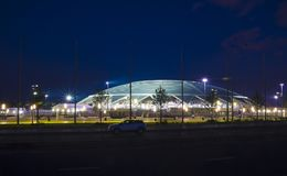 Samara Arena football stadium. Samara - the city hosting the FIFA World Cup in Russia in 2018. The evening of 2 August 2018 stock photo