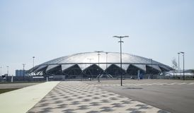 Samara Arena football stadium. Samara - the city hosting the FIFA World Cup in Russia in 2018. Sunny day on August 4, 2018 royalty free stock photography