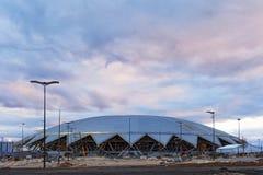 Samara Arena, Rússia - em abril de 2018: construção 2018 do estádio do campeonato do mundo do futebol imagem de stock