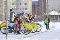 Samara, championnat Russie de speed-way de l'hiver Photographie stock